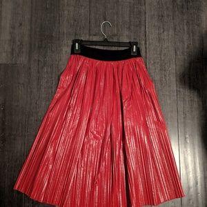 Zara faux leather midi pleated skirt